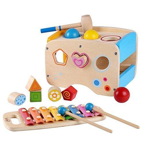 Wooden Learing Hammering & Pounding Toys + 8 Notizen Xylophone + Form Farbe Anerkennung, Geburtstagsgeschenk Spielzeug für 3 Jahre 5 5 Jahre alt und bis Kind Kinder Baby Kleinkind Junge Mädchen