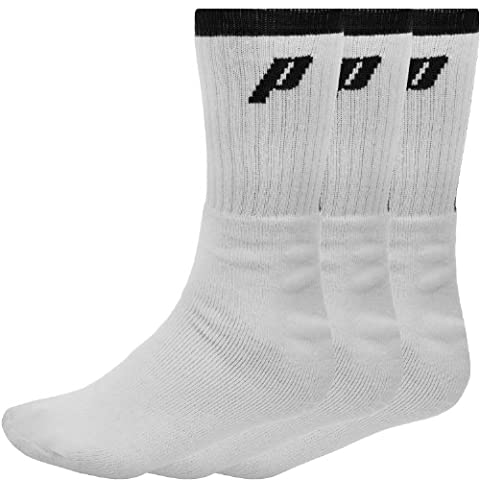3 Pair Pack of Prince Mens Crew Sport Socks - White/Black - 10-14UK