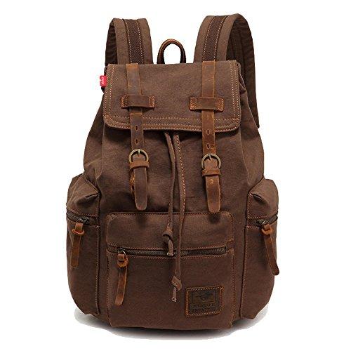 NIUEIMEE-1039Canvas-Rucksack, Rucksack, Vintage-Stil, Rucksack, für Schule Wandern Reisen, mit Doppeltem schulterriemen, Rucksack Coffe