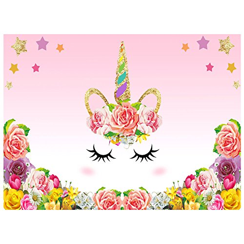 Unicorn Backdrop, 2.2 x1.5 m Unicorn Themed Birthday Party Dessert Table Backdrop