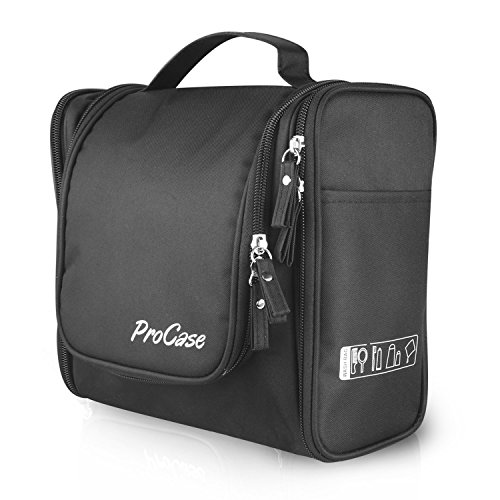 Galleria fotografica ProCase Large Toiletry Bag with Hanging Hook, Toiletries Kit Organizer for Travel Accessories, Makeup, Shampoo, Cosmetic, Personal Items, Bathroom Storage with Hanging -Black by ProCase
