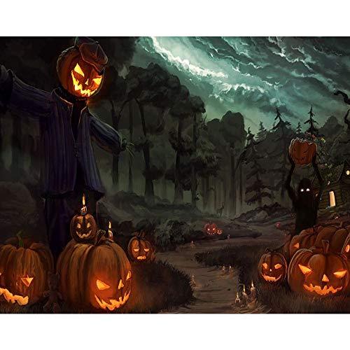 ToDIDAF 5D DIY Vollbohrer Diamant Malerei Kreuzstich, Strass Stickereien, Dekoration für Zuhause Wohnzimmer, 30x25cm - Halloween (A) (Hündchen Gesichter Für Halloween)