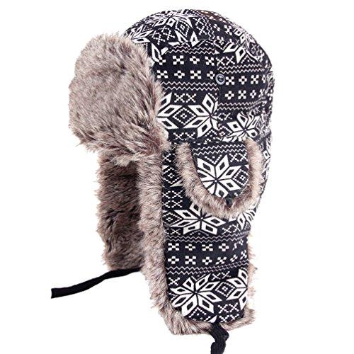 ZAMME Unisex Winter Bomber Schnee Earflap Weihnachten Hut Trapper mit Kunstpelz (Trapper Hats Bomber)
