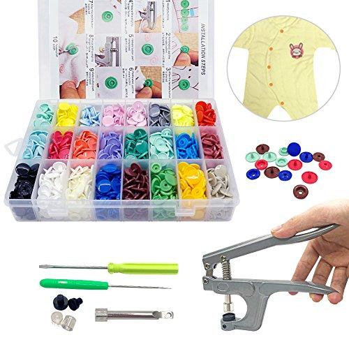 TSH Schnapp Zangen + 360 Set Kunstharz T5 Kunststoff Tasten Kunstharz Druck Knopf DIY 24 Farben