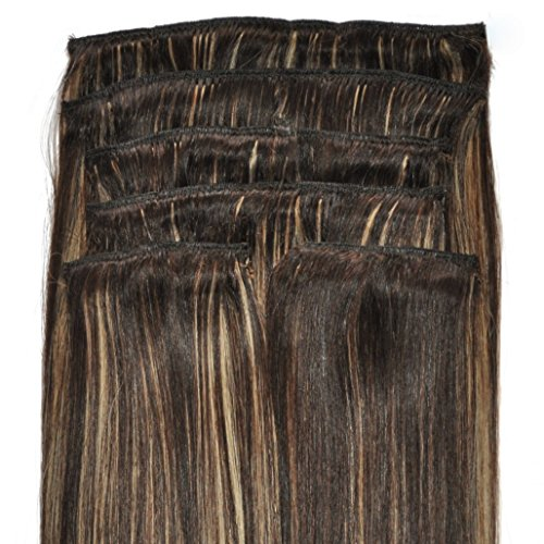 Super Thick, Deluxe, FULL HEAD, Real Clip-in Hair Extensions - 100% Remy, Quadruple Weft, Human Hair, (18 inch, 210g, #4/18 - Dark Brown, Brunette, Golden Blonde Highlights) -
