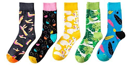 CHUNG Herren 5er-Pack Design Baumwoll Crew Socken Fun Print Gemusterte Funky Einheitsgr e Ostern