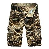 Gladiolus Herren Cargo Shorts Bermuda Kurze Hose Sport Outdoor Camouflage Sommerhose Large Khaki