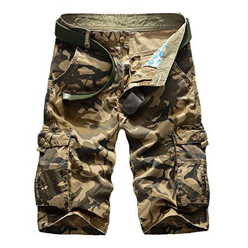 Gladiolus Herren Cargo Shorts Bermuda Kurze Hose Sport Outdoor Camouflage Sommerhose Small Khaki (Sport Khaki-hosen)