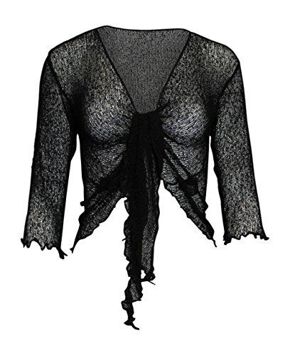Mesdames Femme de Dames Womens Ladies Bali Plain Colored Fish Net Super Stretch Tie-Lace Cardigan Bolero Shrug Cardigan avant ouvert (une taille) Noir