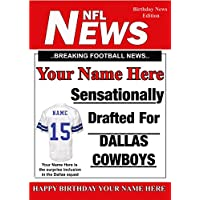 A5 Personalised Dallas Cowboys NFL American Football Birthday Card , Any Name and Age PIDOA1