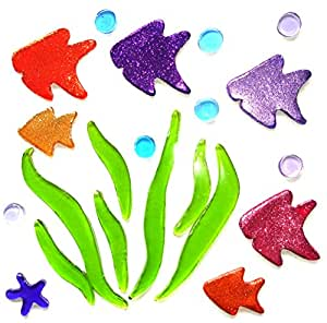 Gel gems v2tss04100 small pesci con alghe colorati glitter for Decorazioni autoadesive