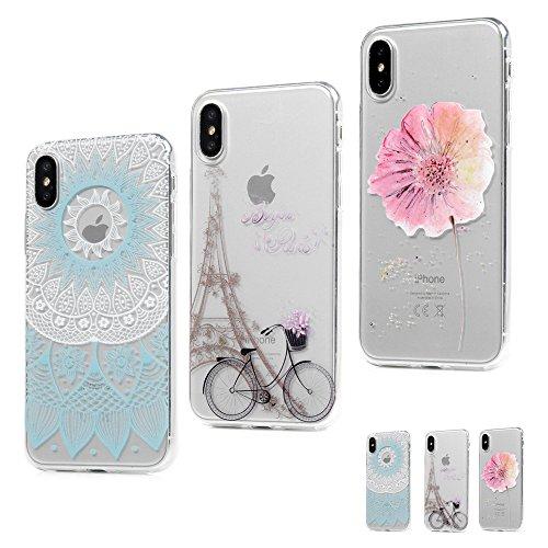 MAXFE.CO Schutzhülle Tasche Case für iPhone X TPU Silikon Cover Gemalt Etui Protective Schale Bumper Mädchen + Traumfänger + Blumen Totem + Fahrrad + Blumen