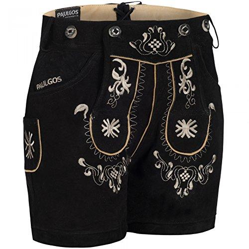 PAULGOS Damen Trachten Lederhose + Träger, Echtes Leder, Kurz in 8 Farben Gr. 34-50 M3, Farbe:Schwarz, Damen Größe:44
