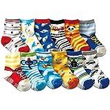 JT-Amigo Pack de 12 Pares de Calcetines para Bebé Niños 1-3 Años
