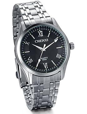 JewelryWe Herren-Armbanduhr, Analog Quarz, Business Casual Edelstahl Armband Uhr mit Schwarz Römischen Ziffern...