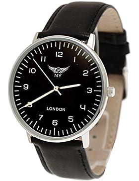NY London designer Slim Unisex Leder Armband Uhr, Schwarz,Silber, super flach,inkl.Uhrenbox