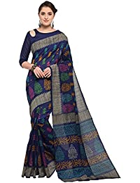 SAREE MALL Women'S Bhagalpuri Silk Saree With Blouse Piece (Navy Blue_Free Size )
