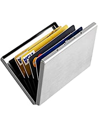 Enyoir Slim RFID Credit Card Protector Wallet,Block Identity Thieves, Stainless Steel Aluminum Metal Holder Case with 6 PVC Slots