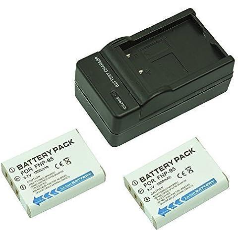 mondpalast@ 2X Reemplazo batería Li-ion type NP-95 NP95 FNP-95 FNP95 1800mah + cargador para Fujifilm Finepix X30 X-S1 X100 X100T X100S F31, F31 fd, F31fd F30, F30 Zoom Real 3D W1 / RICOH DB-90, GXR, GXR Mount A12, GXR P10