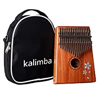 Wooden 17 Keys Kalimba Portable Thumb Piano Wood Mahogany Body Musical Instrument Mbira Marimba Sanza of attached Ore Metal Tines With Bag Learning Book Tune Hammer ideal Kids Children Christmas Gift
