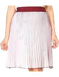 Sakkas Amira Accordion Pleated Midi Crepe Slim Skirt With Elastic Waist