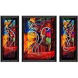 SAF 'Ganesh' Framed Painting (Synthetic, 28.5 inch x 19.5 inch, Modern Art Wood, Set of 3, SANFSAA7500L)