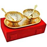 Obbi Metals Handmade Gold Silver Plated 5 Pices 2 Bowl ||2 Spoon||1 TraySpecial Standerd Red Box Packing Is Used For Dry Fruit Birthday Gift, Diwali Gift.