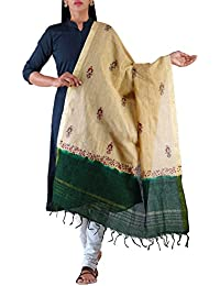 Unnati Silks Women Cream-Green Pure Mangalagiri Cotton Dupatta With Hand Block Prints From The Weavers Of Andhra...