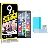LG G 650 - Proteggi schermo in vetro temperato, ultra sottile e leggero bordi arrotondati, durezza fino a 9H, con panno per la pulizia e salvietta con alcool