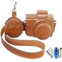 First2savvv marrón Calidad premium Funda Cámara piel genuina cámara digital bolsa caso cubierta con correa para Olympus PEN E-PL8 EPL8 con lente 14-42mm + Lector de tarjetas SD + Cuerda anti-perdida + Paño de limpieza XJD-EPL8-ZP09TZ2