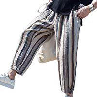 juqilu Hombre Pantalones Harem Casuales Pantalones Jogger Pantalones Cortos Cintura elástica Cordón Pantalones Chinos Pantalones Flojos M-2XL