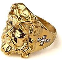 nyuk da uomo Cristo Redentor Gesù Hip Hop oro 18K anello in acciaio