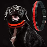 MASBRILL USB Collar de Perro LED Recargable Iluminado Collar Intermitente Luces La Seguridad Ajustable Neck Loop