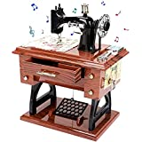 LINGSFIRE Caja de música de Madera Máquina de Coser, Regalo para Esposa, Manivela de Mano, Caja de música Antigua, Tallada Vi