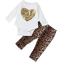 QUICKLYLY Recién Trajes Conjunto Infantil Bebé Chica Lentejuelas Corazón Mameluco Tapas + Leopardo Pantalones