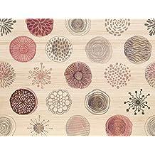 Decowood Cabecero Círculos Abstractos, Madera, Rosa, Individual, 105 x 80 x 3 cm