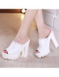 aece5a3ff54ac YMFIE Estate Casual Moda Comodo in pelle Sandali con i tacchi alti  Pantofole da donna Bocca