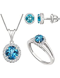 Silver Dew 10 Color Sterling Silver Pendant Earring Jewellery Diamond Set (Free Chain)