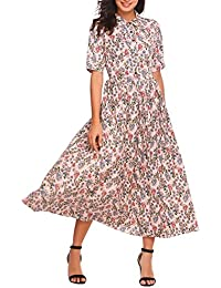 ACEVOG Womens Vintage Style Peter Pan Collar Short Sleeve Floral Print Long Maxi Dress