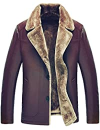 Männer Leder Pelz Dick warm Leder Jacke Revers Leder Winter Mantel