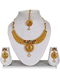 Vipin Store Multi Color Kundan With White Pearl Gold Plated Jewelery Set