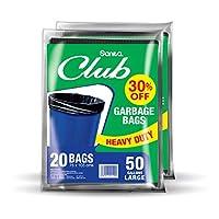 Sanita Club Garbage Bags Flat, 50 Gallons Large - Pack of 2 Pcs 40 bags at 20% OFF