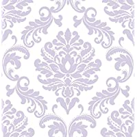 ‏‪Wall Pops NU1396 Purple Ariel Peel and Stick Wallpaper‬‏