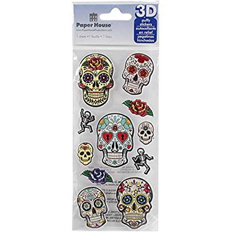 Paper House Productions STP-0012E Embossed Puffy Stickers, Sugar Skulls (3-Pack) by Paper House Productions