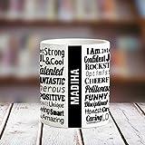 Huppme MADIHA Good Personality White Ceramic Coffee Name Mug