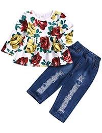 eae63dbd4 2 Pcs Niños Bebés Niñas Trajes De Impresión Joya Cuello Mangas Largas Tops  Blancos con Pantalones Vaqueros Pantalones Rotos Conjunto…
