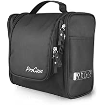 ProCase Large Toiletry Bag with Hanging Hook, Toiletries Kit Organizer for Travel Accessories, Makeup, Shampoo, Cosmetic, Personal Items, Bathroom Storage with Hanging -Black by ProCase