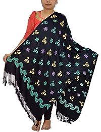 Sanvitta's Ethnic Print Viscose Satin Stole Shawl Wrap BLACK