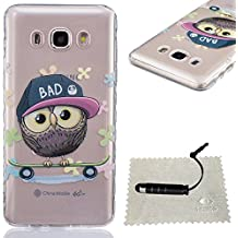 [Extremadamente Delgada] Funda 3D Silicona Transparent para Samsung Galaxy J5 (2016) J510 ,Funda TPU Ultra Slim para Samsung Galaxy J5 (2016) J510 , TOCASO Case Fina Slim Fit Cristal Clear, Transparent Slicona Clear Cover Glittering Bling Cute Pattern Colored Painting Flexible Material Antigolpes Antigravedad Anti-Impacto Anti-Shock Back Shell con Bumper Lightweight Carcasa para Chica y Girls Friends -Búho + 1x Negro Stylus Pen