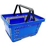 gebar 1 Einkaufskorb in blau mit Zwei Tragegriffe aus Plastik 20 Liter Verkaufskörbe stapelbar